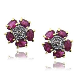 Dolce Giavonna 18k Gold over Sterling Silver Ruby and Diamond Accent Earrings
