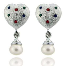 Dolce Giavonna Sterling Silver Enamel and Freshwater Pearl Heart Dangle Earrings
