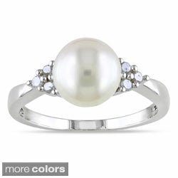Miadora Silver Freshwater Pearl and 1/8ct TDW Diamond Ring (H-I, I2-I3)