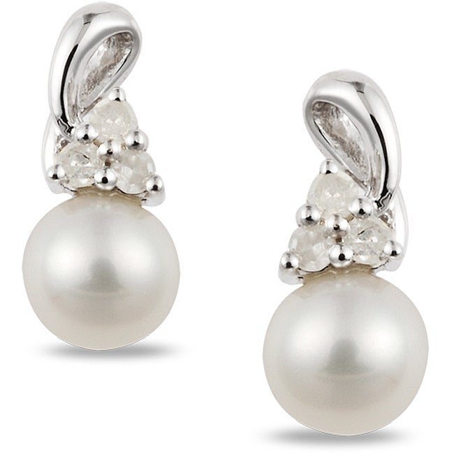 Miadora Sterling Silver Freshwater Pearl and 1/8ct TDW Diamond Earrings (H-I, I2-I3)