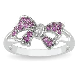 Miadora Sterling Silver Created Pink Sapphire and Diamond Fashion Bow Ring