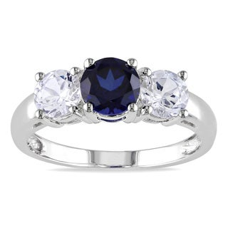Miadora 10k White Gold Created Blue and White Sapphire 3-stone Ring