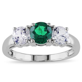 Miadora 10k White Gold Created Emerald and White Sapphire 3-stone Ring