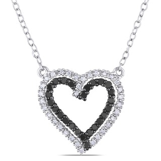 Haylee Jewels Silver 1/3ct TDW Black and White Diamond Heart Necklace (H-I, I2-I3)