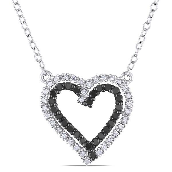 Silver 1/3ct TDW Black and White Diamond Heart Necklace (H-I, I2-I3)
