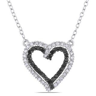 M by Miadora Silver 1/3ct TDW Black and White Diamond Heart Necklace (H-I, I2-I3)