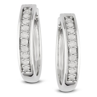 Miadora Sterling Silver 1/3ct TDW Diamond Earrings (H-I, I2-I3)