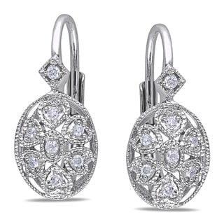 Haylee Jewels Sterling Silver 1/8ct TDW Diamond Earrings (G-H, I2-I3)