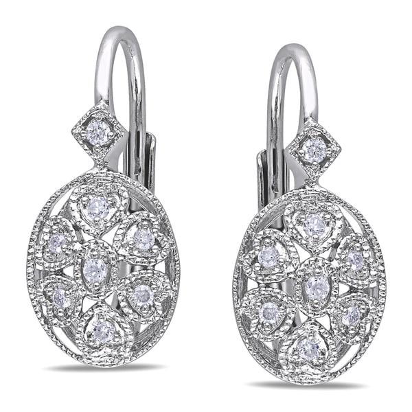 Miadora Sterling Silver 1/8ct TDW Diamond Earrings (G-H, I2-I3)