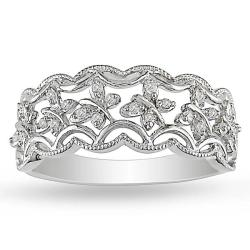 Miadora Sterling Silver 1/10ct TDW Diamond Ring (G-H, I2-I3)