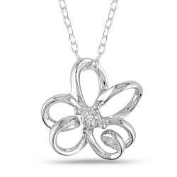 M by Miadora Sterling Silver Diamond Flower Necklace (G-H, I2-I3)