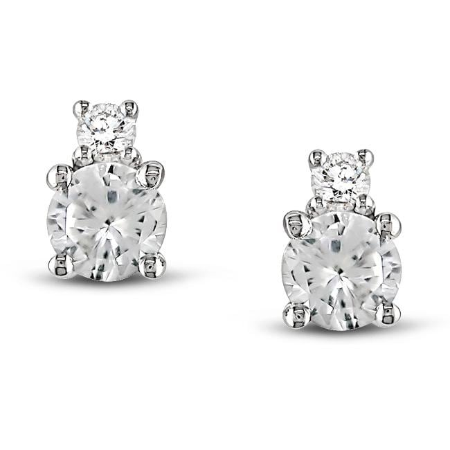 Miadora 10k White Gold Created White Sapphire and Diamond Earrings
