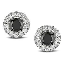 Miadora 14k White Gold 1 1/2ct TDW Diamond Stud Halo Earrings (G-H, I2-I3)