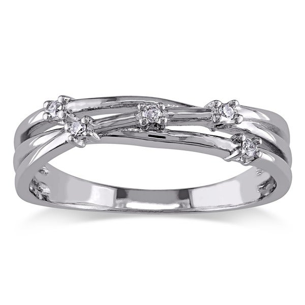 Miadora Sterling Silver Diamond Fashion Ring