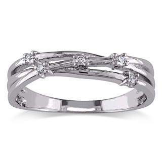 M by Miadora Sterling Silver Diamond Criss Cross Fashion Ring
