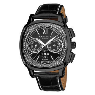 Akribos XXIV Men's Water-Resistant Multifunction Diamond Swiss Quartz Square Strap Watch