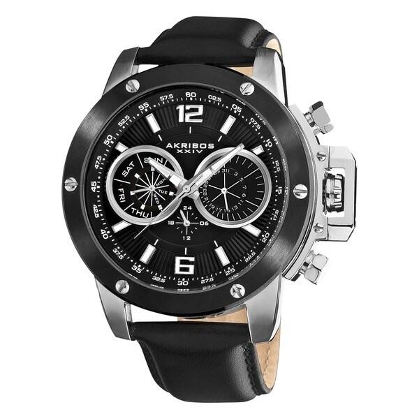 Akribos XXIV Men's Black Multifunction Stainless Steel Swiss Quartz Strap Watch with White Dial Markings