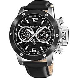 Akribos XXIV Men's Black Multifunction Stainless Steel Swiss Quartz Strap Watch with White Dial Markings