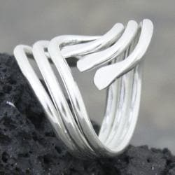 Sterling Silver Wide Three Waves Bypass Ring (Mexico)