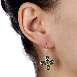 Kabella 10k Yellow Gold Green Topaz Leverback Earrings