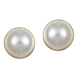 Kabella 10k Yellow Gold Mabe Pearl Earrings (13-14 mm)