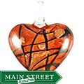 Murano Inspired Glass Red, Gold and Black Criss-cross Heart Pendant