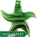 Murano Inspired Glass Green Wave Star Pendant