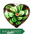 Murano Inspired Glass Green Flower Heart Pendant