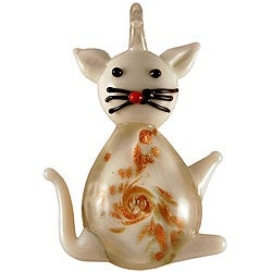 Murano Inspired Glass White Kitty Cat Pendant