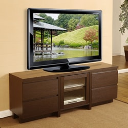 Cosmo 4-drawer Red Cocoa Wood Entertainment Center
