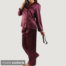 Classic Women's Satin Pajama and Sleep Mask Set