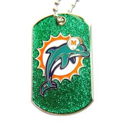 Miami Dolphins Glitter Dog Tag Necklace