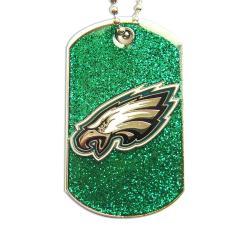 Philadelphia Eagles Fan Glitter Dog Tag Necklace