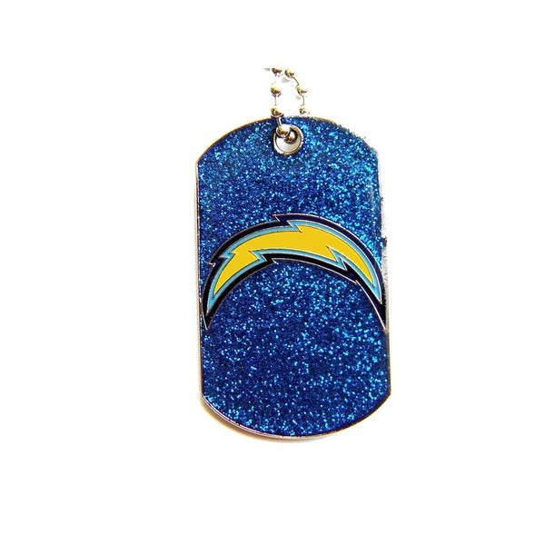 San Diego Chargers Fan Glitter Dog Tag Necklace
