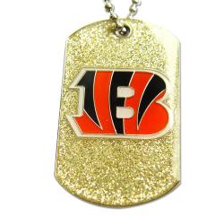 Cincinnati Bengals Fan Glitter Dog Tag Necklace
