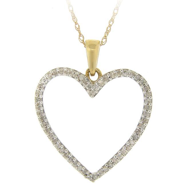 DB Designs 10k Gold 1/5ct TDW Diamond Heart Necklace (I-J, I2-I3)