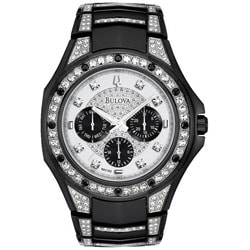 Bulova Men's Black Stainless Steel Crystal Accented Watch