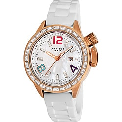 Akribos XXIV Women's Water-Resistant Crystal Swiss-Quartz MOP Strap Watch