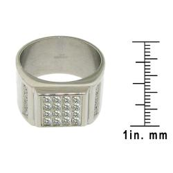 Stainless Steel Cubic Zirconia 4-row Fashion Ring