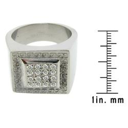 Stainless Steel Cubic Zirconia Greek Key Pattern Ring