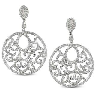 Miadora Signature Collection 18k White Gold 1 1/2ct TDW Diamond Dangle Earrings (G-H, SI1-SI2)