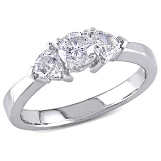 18k White Gold 1ct TDW Diamond 3-stone Ring (G-H, SI1-SI2)