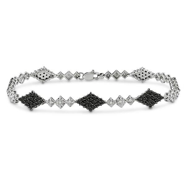 Miadora 14k White Gold 1 5/8ct TDW Black and White Diamond Bracelet (I-J, I2-I3)
