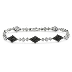 Miadora 14k White Gold 1 5/8ct TDW Black and White Diamond Bracelet (I-J, I2-I3)