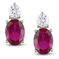 Miadora Sterling Silver Created Ruby and White Sapphire Earrings