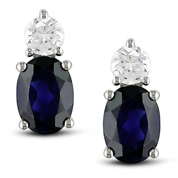 M by Miadora Sterling Silver Created Blue and White Sapphire Earrings
