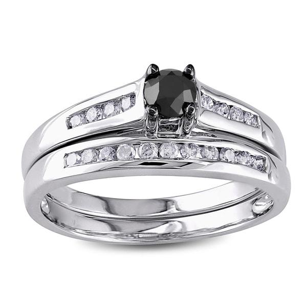 Miadora 10k Gold 1/2ct TDW Black and White Diamond Bridal Ring Set (G-H, I2-I3)