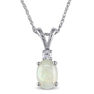 Miadora 10k White Gold Opal and Diamond Fashion Necklace