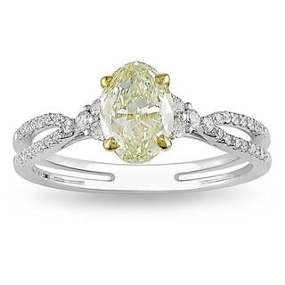 18k Gold 1 1/4ct TDW IGL-certified Oval-cut Yellow and White Diamond Ring (G-H, VS1-VS2)