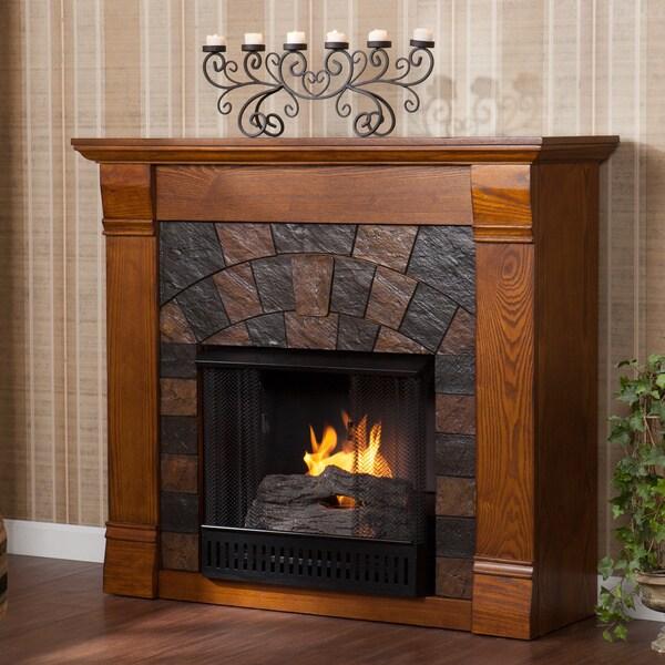 Upton Home Stonegate Antique Oak Gel Fireplace